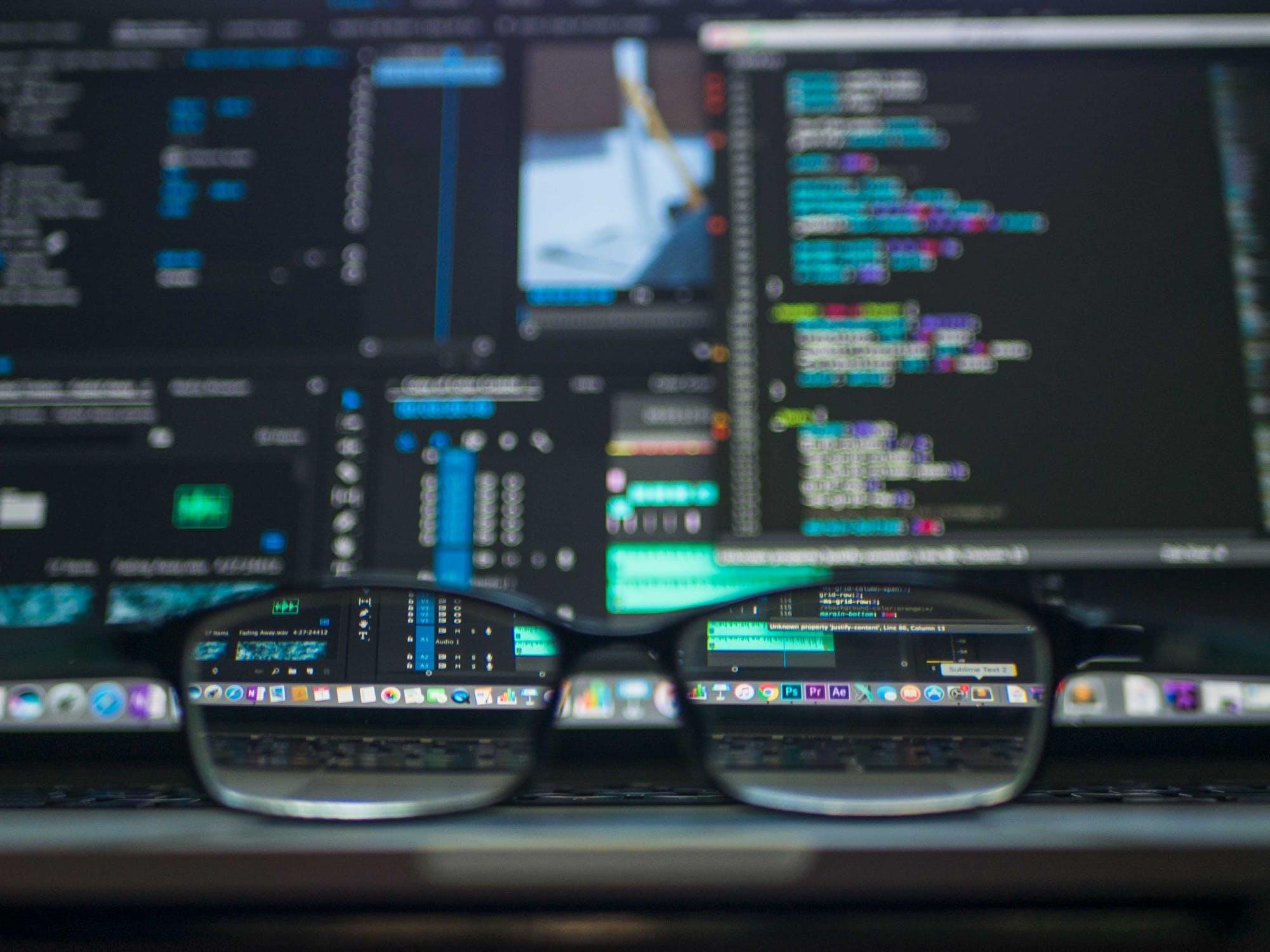 glasses on laptop